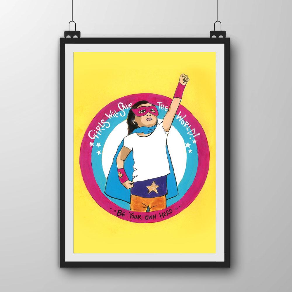 8e3de0fe17 JSC06 - Girl Hero Art Print - Jo Stevenson Creative